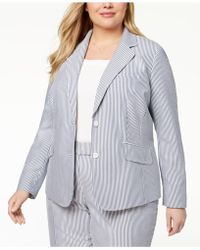 Anne Klein - Plus Size Double-button Striped Blazer - Lyst