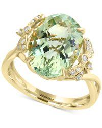 Effy Collection - Effy® Green Amethyst (5-9/10 Ct. T.w.) & Diamond (1/10 Ct. T.w.) Ring In 14k Gold - Lyst