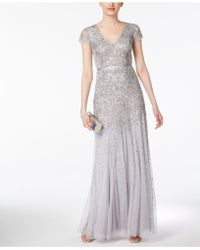 Adrianna Papell | Cap-sleeve Embellished Gown | Lyst