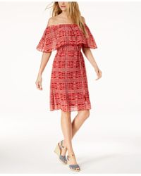 Love Scarlett - Petite Printed Off-the-shoulder Dress, Created For Macy's - Lyst