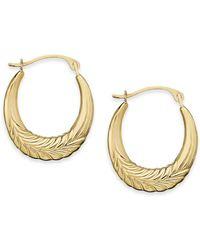Macy's - 10k Gold Earrings, Chevron Hoop Earrings - Lyst