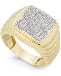 Macy's - Men's Diamond Cluster Ring (1/4 Ct. T.w.) In 10k Gold - Lyst