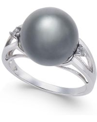 Macy's - Cultured Black Tahitian Pearl (11mm) And Diamond Accent Ring In Sterling Silver - Lyst