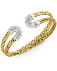 Macy's - Diamond Horseshoe Double Mesh Cuff Bracelet (1/2 Ct. T.w.) In 14k Gold-plated Sterling Silver - Lyst
