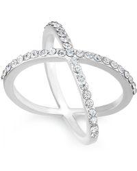INC International Concepts - Rose Gold-tone Criss Cross Rhinestone Ring - Lyst