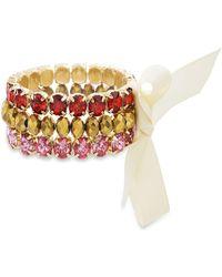 Catherine Malandrino - Red And Pink Rhinestone White Ribbon Trio Yellow Gold-tone Trio Stretch Bracelet Set - Lyst