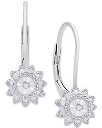 Macy's - Diamond Floral Drop Earrings (1/4 Ct. T.w.) In Sterling Silver - Lyst