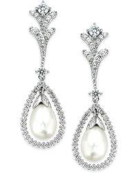 Arabella - Cultured Freshwater Pearl (7mm) And Swarovski Zirconia (2 Ct. T.w.) Drop Earrings In Sterling Silver - Lyst
