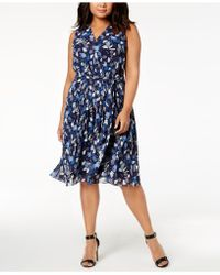 Anne Klein - Plus Size Printed Pleated A-line Dress - Lyst