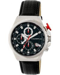 Morphic - M39 Series Leather-band Chronograph Watch - Silver/black - Lyst