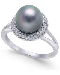 Macy's - Cultured Tahitian Pearl (8mm) & Diamond (1/5 Ct. T.w.) Halo Ring In 14k White Gold - Lyst