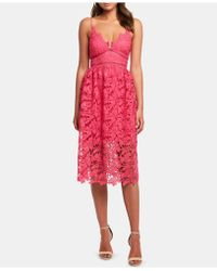 Bardot Sonya Lace Fit & Flare Dress - Red