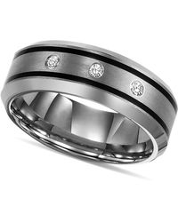 Triton - Tungsten Ring, Diamond Wedding Band (1/10 Ct. T.w.) - Lyst
