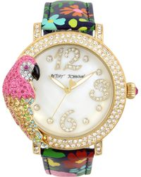 Betsey Johnson - Women's Parrot Gold-tone Floral Leather Strap Watch 44mm - Lyst