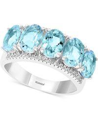 Effy Collection - Effy® Aquamarine (3-9/10 Ct. T.w.) & Diamond (1/8 Ct. T.w.) Statement Ring In 14k White Gold - Lyst