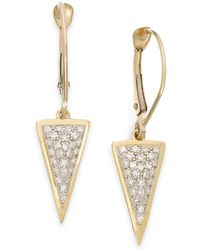 Wrapped in Love - Diamond Triangle Drop Earrings In 10k Gold (1/6 Ct. T.w.) - Lyst