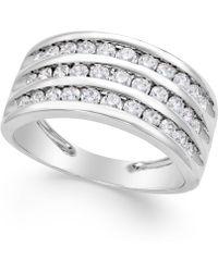 Macy's - Three-row Diamond Ring (1 Ct. T.w.) In 14k White Gold - Lyst
