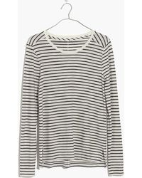 Madewell | Whisper Cotton Long-sleeve Crewneck Tee In Alameda Stripe | Lyst