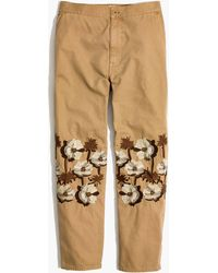 Madewell - Embroidered Tapered Wide-leg Trousers - Lyst