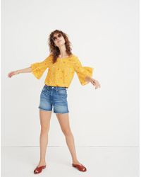 Madewell - Silk Ruffle-sleeve Top In Painted Carnations - Lyst
