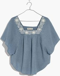 Madewell - Embroidered Denim Butterfly Top - Lyst