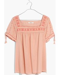 Madewell - Embroidered La Villa Peasant Top - Lyst