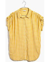 Madewell - Central Ruched-sleeve Shirt In Gingham Check - Lyst