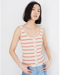 Madewell - Kingston Button-front Jumper Tank In Stripe - Lyst