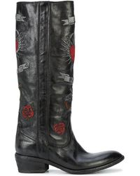 Fauzian Jeunesse - Embroidered Knee High Boots - Lyst