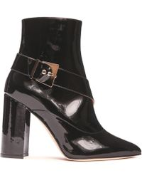 Chloe Gosselin Black Leather Pointed Buckled Boot