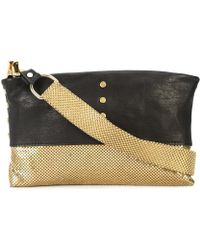 Laura B - Black Leather / Gold Metal Studded Baguette Clutch - Lyst