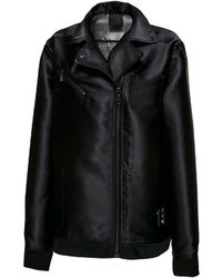 PUMA - Black Oversized Biker Puma Jacket - Lyst