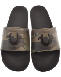 True Religion - Camo & Black Pool Slides With Woven Carry Bag - Lyst