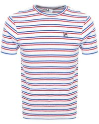 c0e7c07cf6e972 Fila Hill White And Green Striped Towelling T-shirt - Mens S in Green for  Men - Lyst