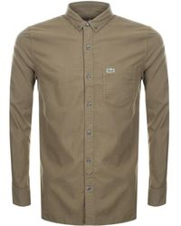 Lacoste L!ive - Long Sleeved Shirt Khaki - Lyst