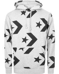 Converse - Star Chevron Pullover Logo Hoodie Grey - Lyst