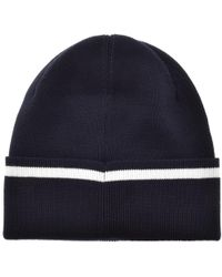 Lyst - Lacoste Ribbed Beanie Navy in Blue for Men e5cada5ee00a