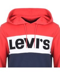 Levi's - Colour Block Logo Hoodie Red - Lyst