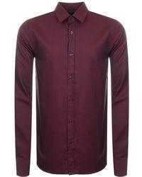 1e04d898 HUGO Elisha Extra Slim Fit Poplin Shirt With Print In Black/burgundy in  Black for Men - Lyst