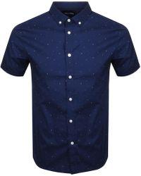Lyle & Scott - Lyle And Scott Short Sleeve Micro Print Shirt Navy - Lyst