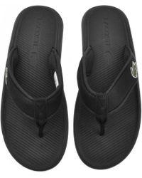Lacoste - Croco Flip Flops Black - Lyst
