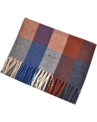 GANT - Lambswool Checked Scarf Blue - Lyst