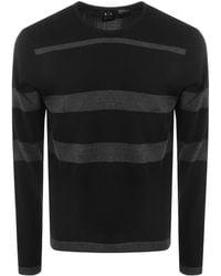 Armani Exchange - Striped Knit Jumper Black - Lyst
