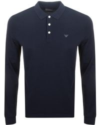 Armani - Emporio Long Sleeved Polo T Shirt Navy - Lyst