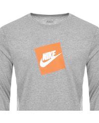 Nike - Long Sleeve Futura Box Logo T Shirt Grey - Lyst
