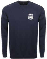 Edwin - Fuji San Crew Neck Sweatshirt Navy - Lyst