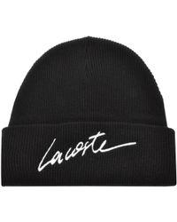 Lacoste L!ive - Beanie Hat Black - Lyst