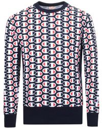 Champion - Reverse Weave Sweatshirt With All Over Print In Navy - Lyst
