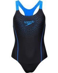 Speedo - Gala Logo Medalist One Piece Swimsuit Black/blue - Lyst