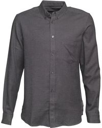 French Connection - Plain Flannel Long Sleeve Shirt Charcoal Mel - Lyst